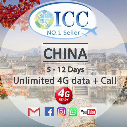 ICC【China SIM Card· 5-12 Days】Unlimited Data + Call (China Unicom)