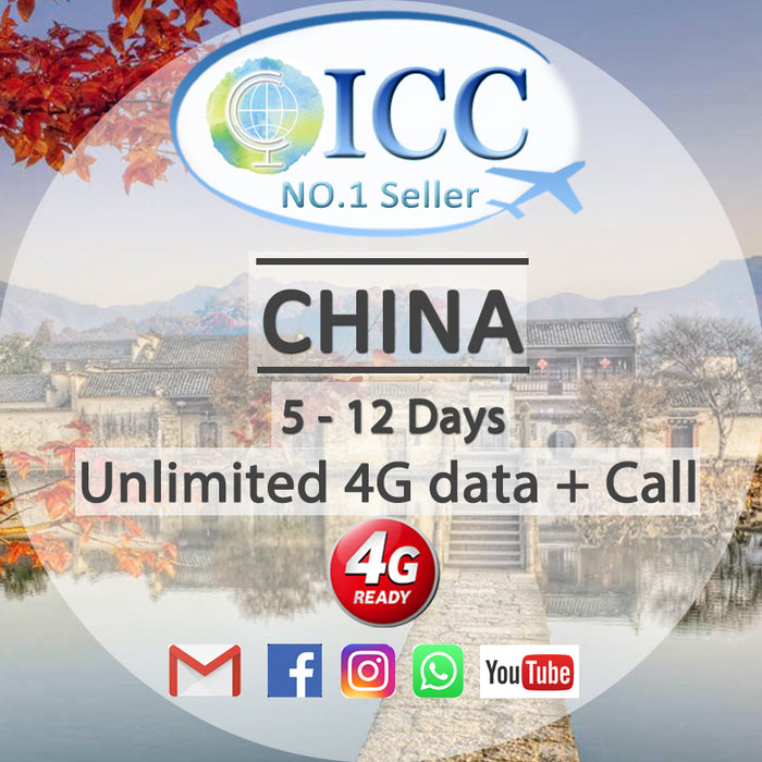 ICC SIM Card - China 5-12 Days Unlimited Data + Call - China Unicom