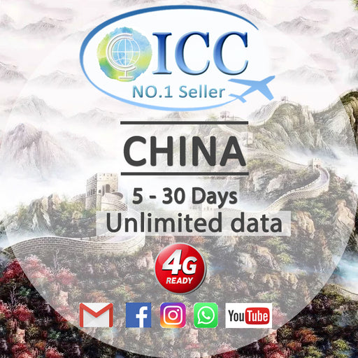 ICC【China SIM Card· 5-30 Days】Unlimited Data (China Unicom)