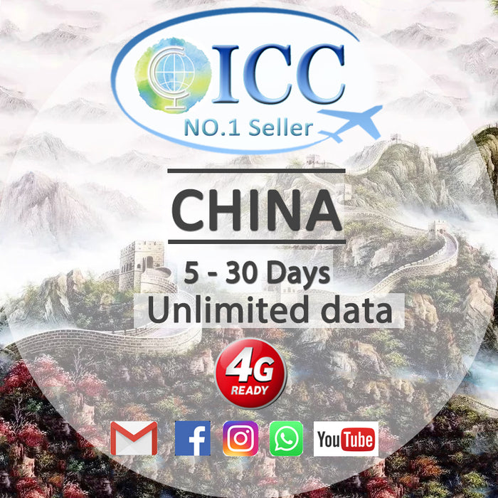 ICC SIM Card - China 8-30 Days Unlimited Data - China Unicom