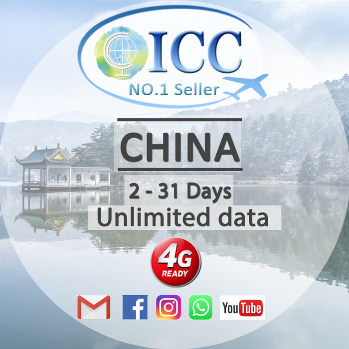 ICC SIM Card - China 2-31 Days Unlimited Data - China Mobile