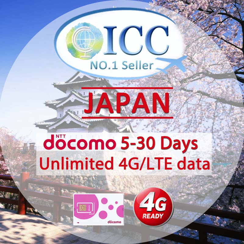 ICC SIM Card - Japan 5-30 Days Unlimited 4G* Data - NTT Docomo Local SIM