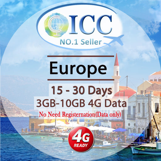 ICC SIM Card - Europe EU-C 15-30 Days 3GB/6GB/10GB 4G Data