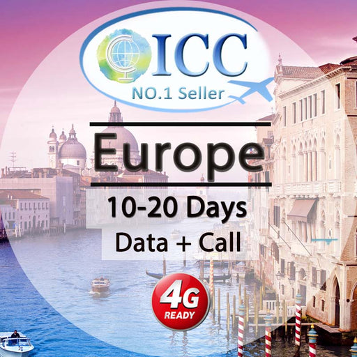 ICC【Europe Sim Card · 10/15/20 Days】20GB 4G/3G Data+Call