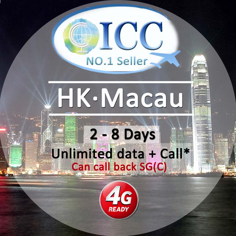 ICC-【HK & Macau 2-8 Days】Unlimited Data Plan
