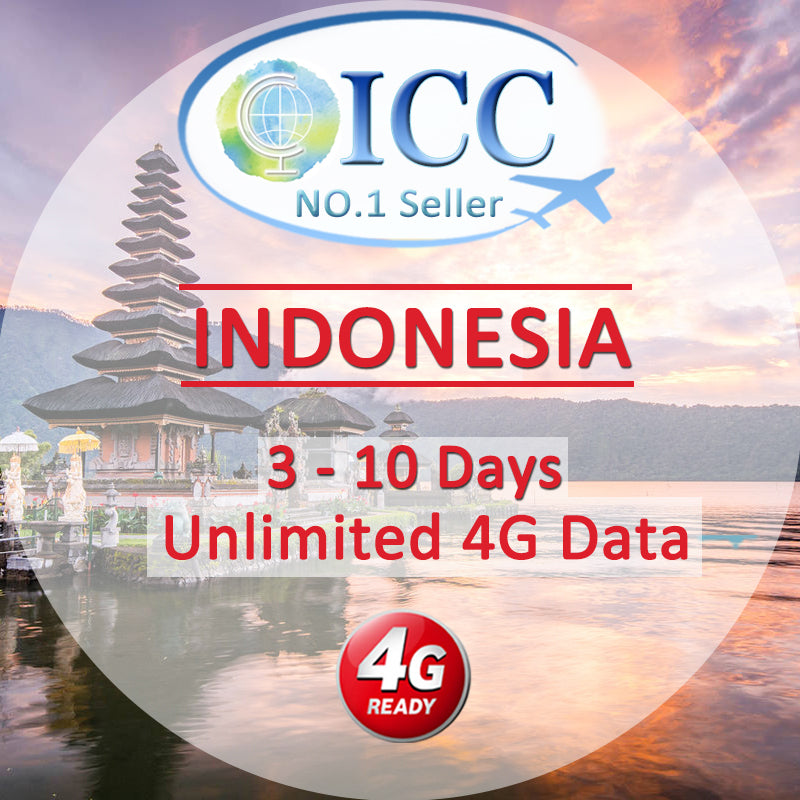 ICC【Indonesia Sim Card · 3-10 Days】Unlimited 4G Data (XL)