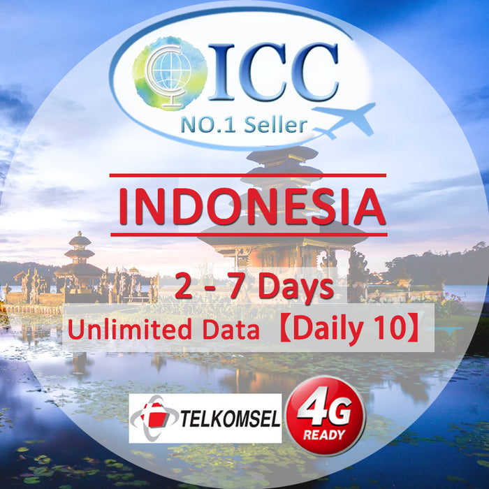 ICC SIM Card - Indonesia 2-10 Days Unlimited Data (Daily 10) - Telkomsel