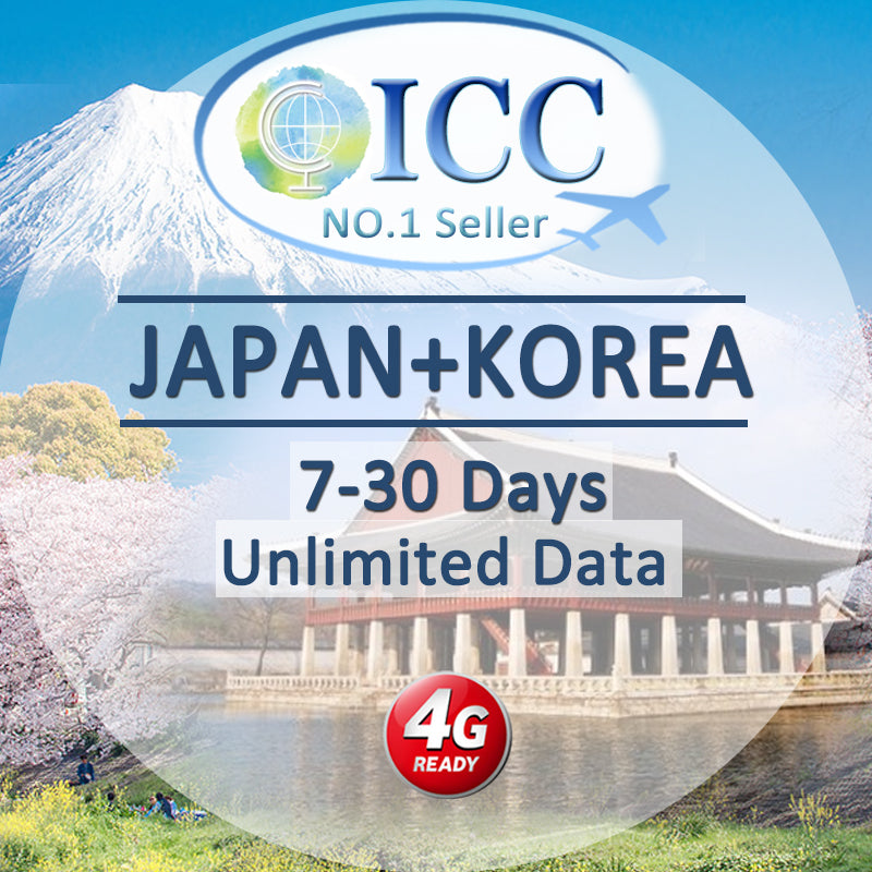 ICC SIM Card - Japan & Korea 7-15 Days Unlimited Data (Daily 3) - Softbank / SKT