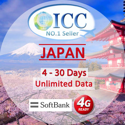 ◆ ICC◆【Japan Sim Card · 4-30 Days】[Daily 3] Unlimited Data SIM