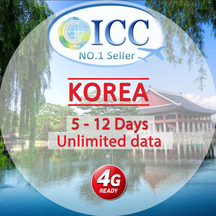 ICC SIM Card - Korea 5-12 Days Unlimited Data (Daily 10) - KT