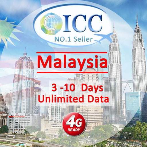 ICC-【Malaysia 3-10 Days】Unlimited Data Plan