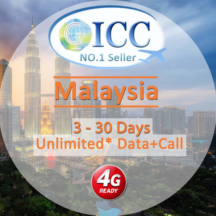 ICC SIM Card - Malaysia 3-30 Days Data + Call
