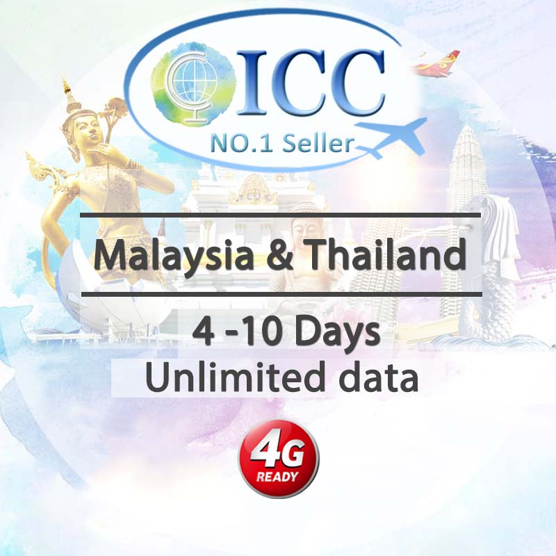 ICC-【Malaysia & Thailand 4-10 Days】Unlimited Data Plan