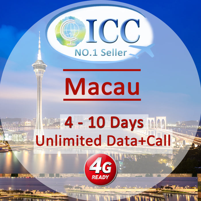ICC SIM Card - Macau 4-8 Days Unlimited Data