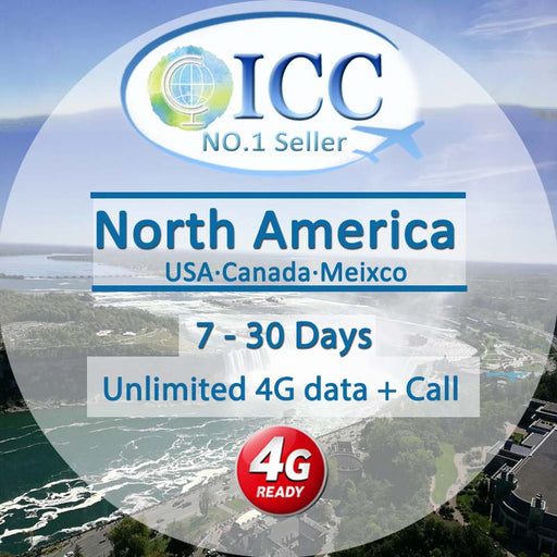 ICC SIM Card - North America 7-30 Days Unlimited 4G Data + Call - AT&T