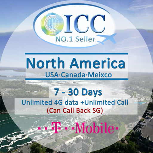 ICC SIM Card - North America 7-30 Days Unlimited 4G Data* + Local Call + IDD Call - T-Mobile