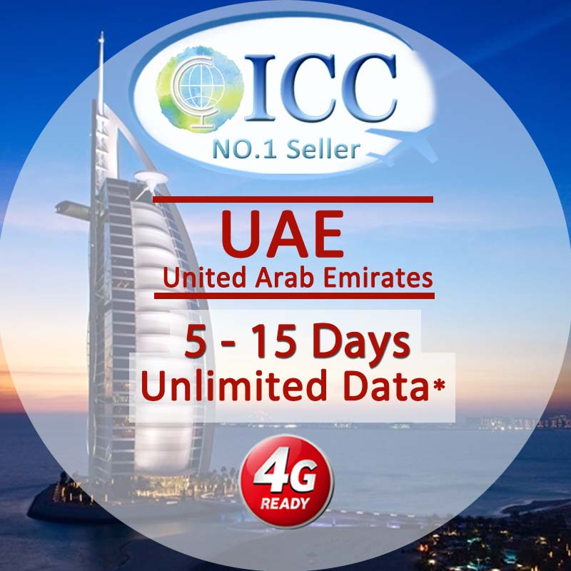 ICC SIM Card - United Arab Emirates (UAE) 5-15 Days Unlimited Data