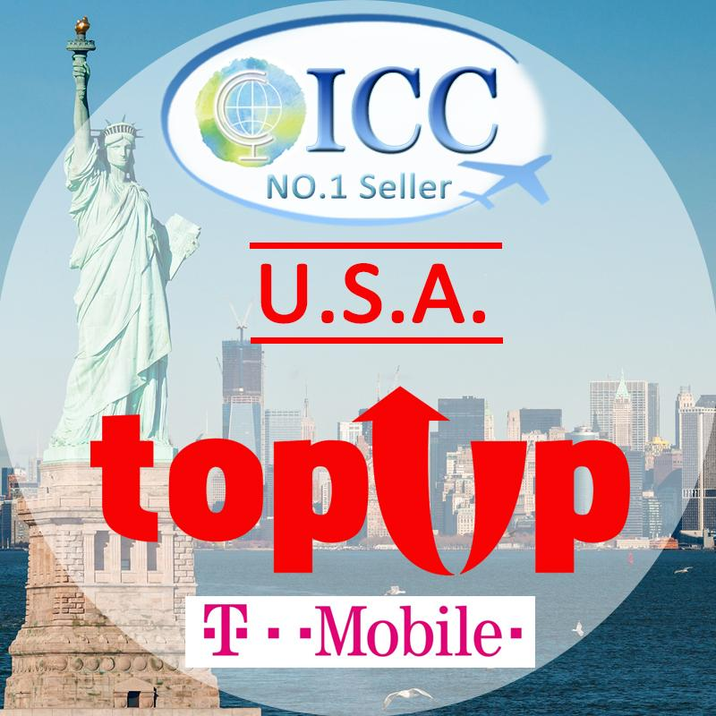 ICC-Top Up- USA 7-90 Days Unlimited 4G Data + Local Call - T-Mobile