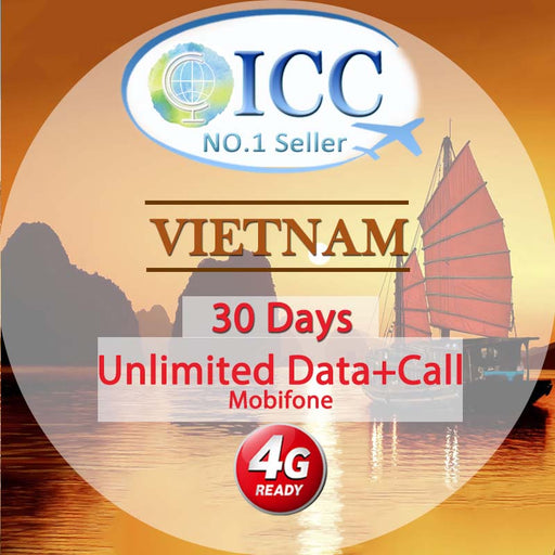 ICC SIM Card - Vietnam 3-30 Days Unlimited Data + Call*