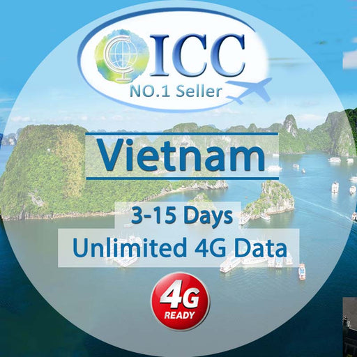 ICC【Vietnam SIM Card· 3-15 Days】Unlimited 4G Data