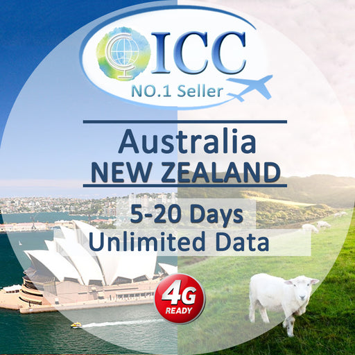 ICC【Australia and New Zealand Sim Card · 5-15 Days】Unlimited Data