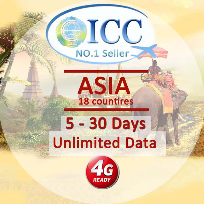 ICC【Asia Sim Card · 5-30 Days】Unlimited Data