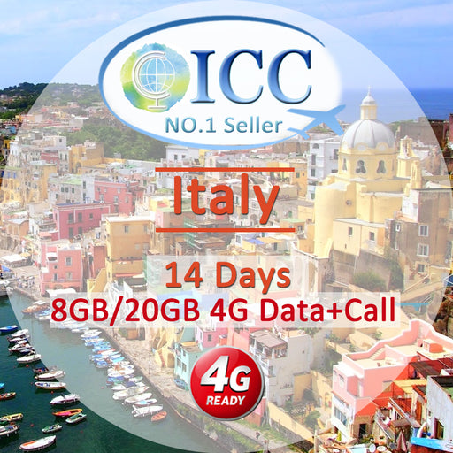 ICC SIM Card - Italy 14 Days 8GB/20GB 4G Data + Local Call + Int'l Call