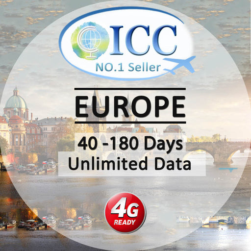 ICC【Europe Sim Card · 40-180 Days】4GLTE+Unlimited Data(Include Russia/Balkans)