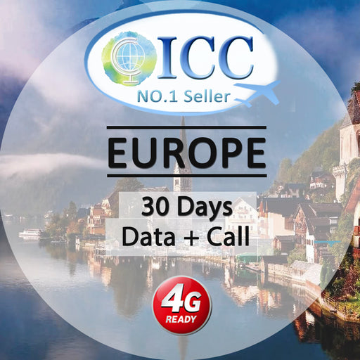 ICC SIM Card - Europe 30 Days 5GB/9GB 4G Data + Call