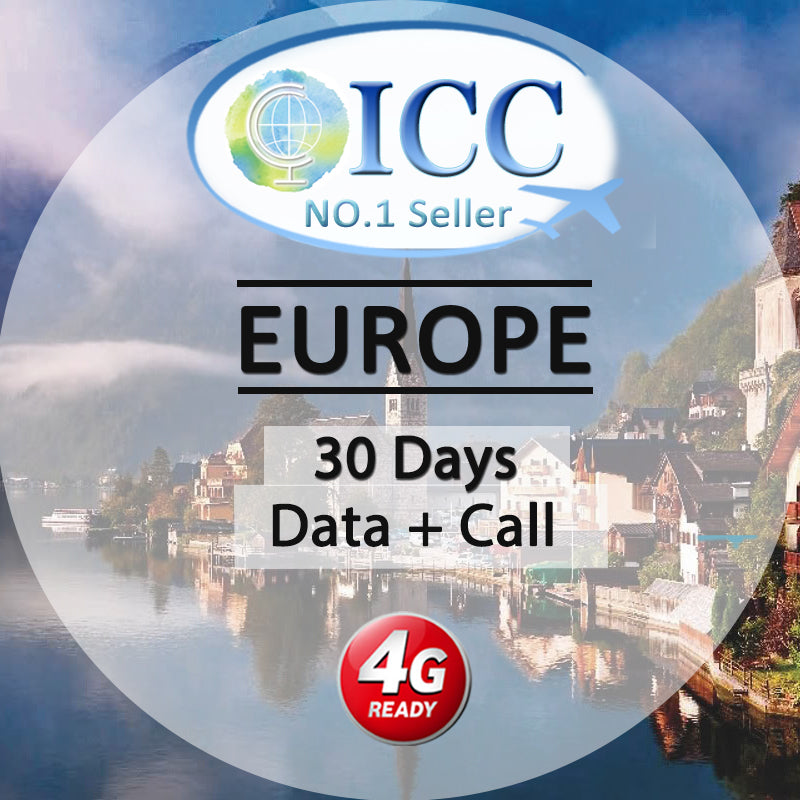 ICC【Europe Sim Card · 30 Days】5GB/9GB 4G Data + Call + Free incoming Call