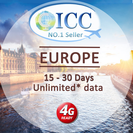 ICC【Europe Sim Card · 7-30 Days】4GLTE+Unlimited Data(Include Russia/Balkans)