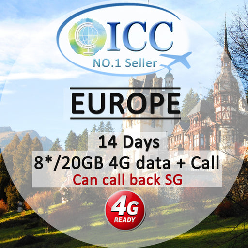 ICC【Europe Sim Card · 14 Days】❤EU-C❤8GB*/20GB+Call(Can call back SG)❤