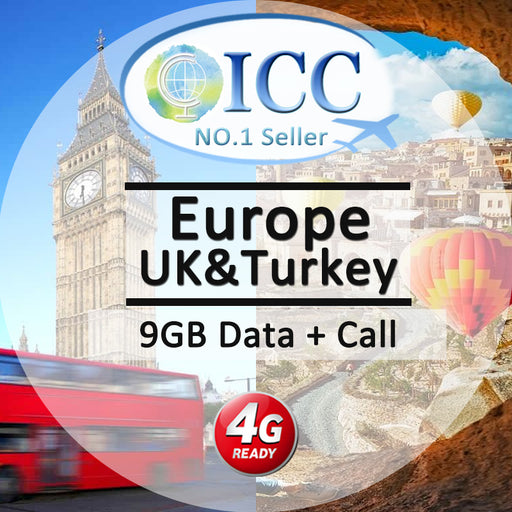 ICC SIM Card - Europe 30 Days 3GB/10GB/20GB 4G Data + Call - Include Turkey