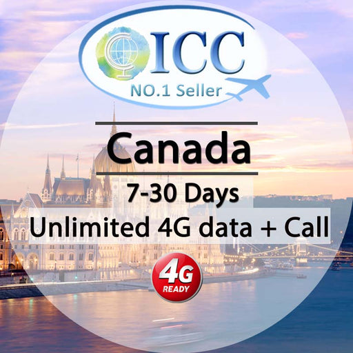 ICC SIM Card - Canada 7-30 Days Unlimited 4G Data + Local Call