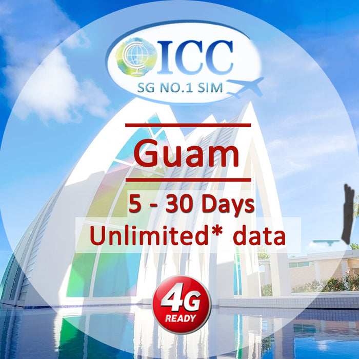 ICC SIM Card - Guam 4-30 Days Unlimited 4G Data