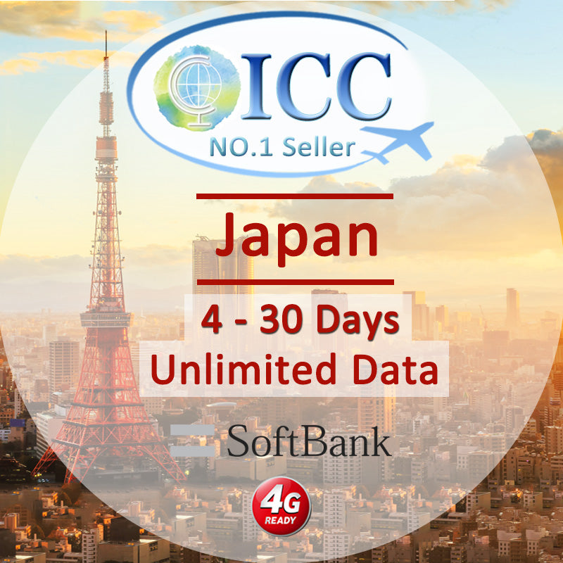 ICC SIM Card - Japan 4-30 Days Unlimited Data (Daily 5) - Softbank
