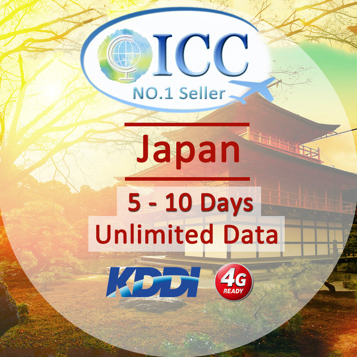 ICC SIM Card - Japan 5-10 Days Unlimited Data (Daily 5) - KDDI