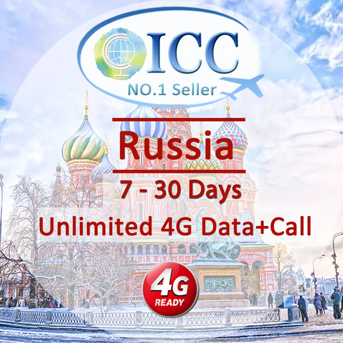 ICC SIM Card - Russia 7-30 Days Unlimited 4G Data + Call