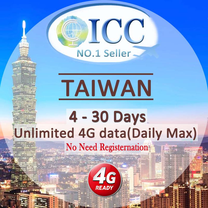 ICC-【Taiwan 4-30 Days】Unlimited 4G Data Plan