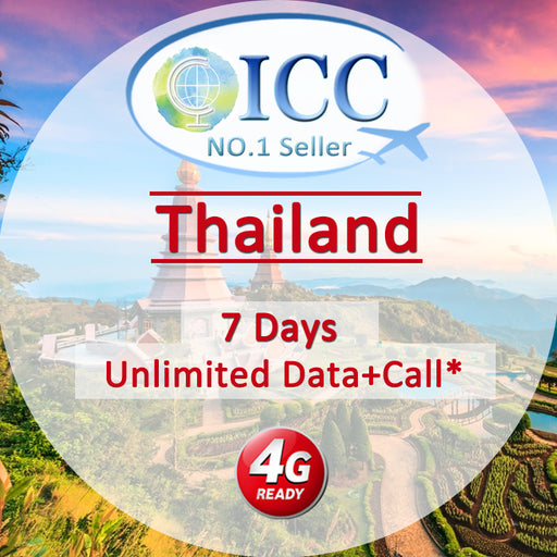ICC【Thailand SIM Card· 7 Days】Unlimited Data + Call*(AIS)