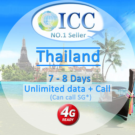 ICC【Thailand SIM Card· 8 Days】Unlimited Data + Call (Truemove/AIS/DTAC)