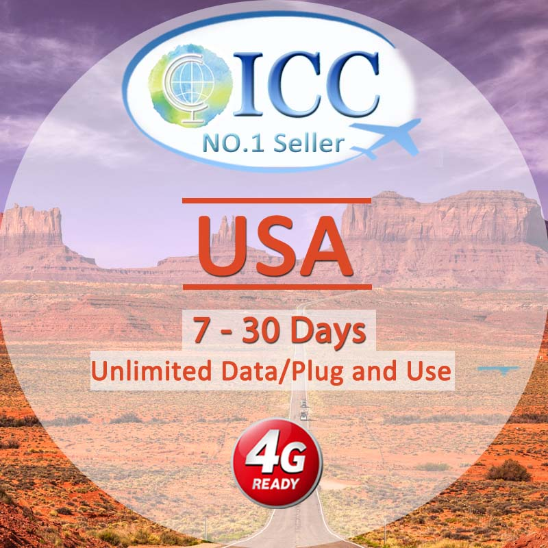 ICC SIM Card - USA 7-30 Days Unlimited Data