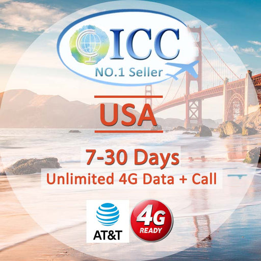 ICC SIM Card - USA 7-30 Days Unlimited 4G Data + Call - AT&T Local SIM