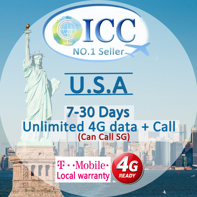ICC SIM Card - USA 7-30 Days Unlimited 4G Data + Locall Call + Int'l Call