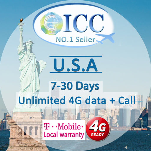ICC SIM Card - USA 7-30 Days Unlimited 4G Data + Call
