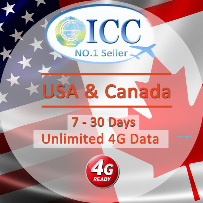 ICC SIM Card - USA & Canada 7-30 Days Unlimited Data