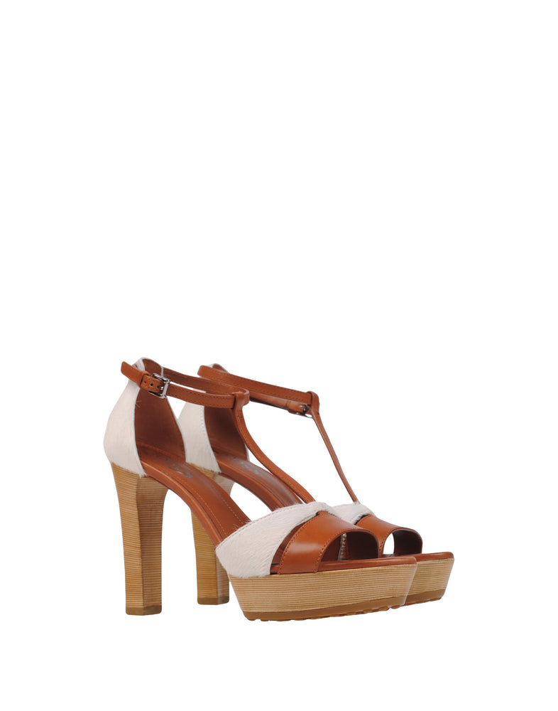 Tod's Brown Leather High Heel Sandals