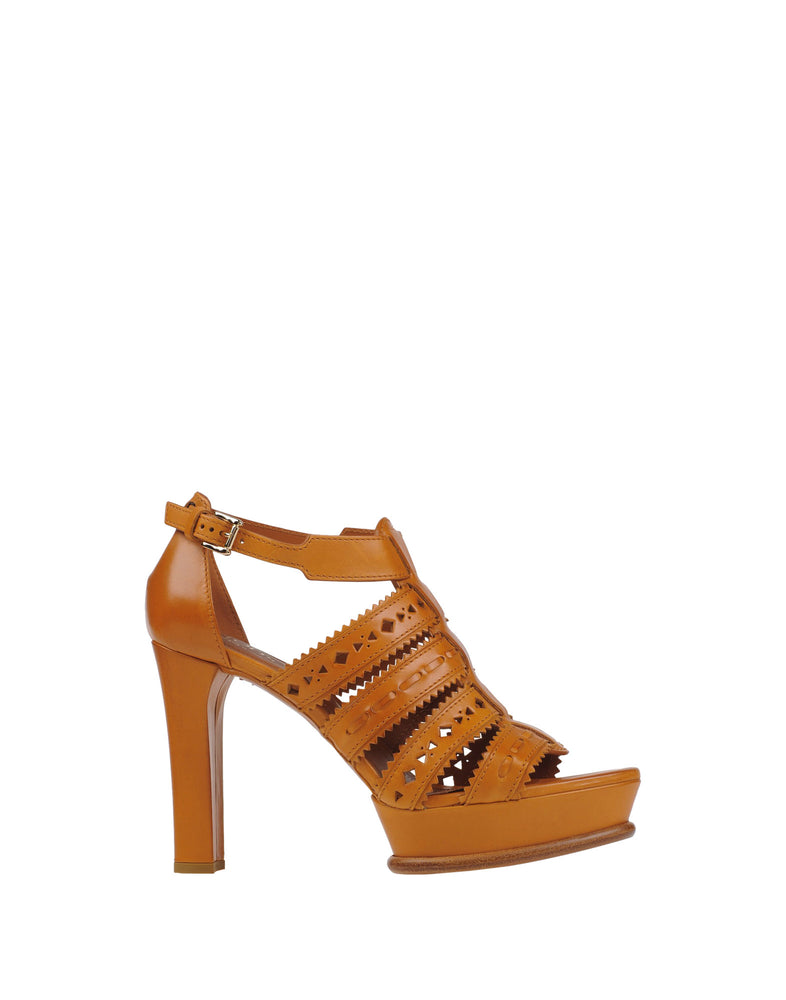 Tod's Tan Buckle High Heel Leather Sandals