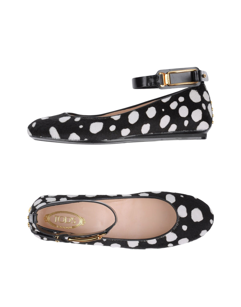 Tod's Black Animal Print Ballet Flat Shoes
