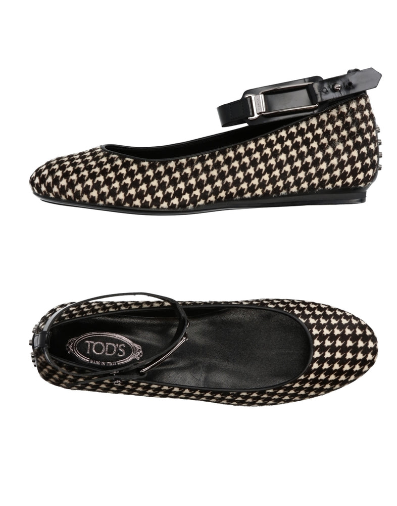 Tod's Houndstooth Hair Ballet Flat Shoes